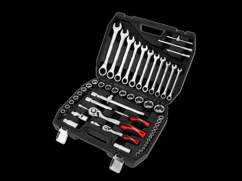 Clés mixtes et clés à cliquet avec douilles - 54 pièces en Chrome Vanadium