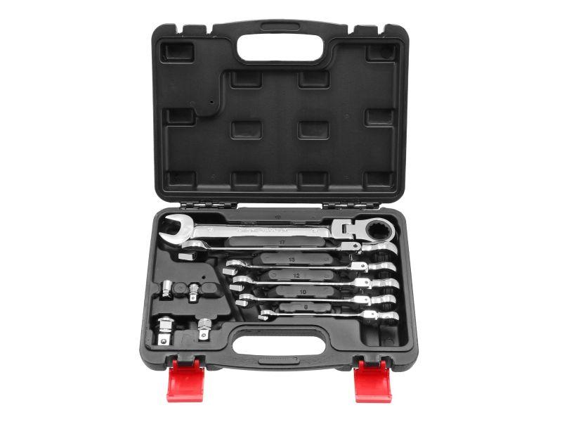 Coffret de 6 clés mixtes à cliquet articulées 8-19 mm + 4 adaptateurs