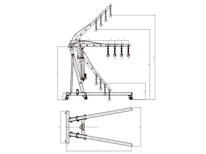 Grue d'atelier pliable 2255 mm 2000 kg
