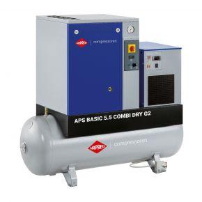 Compresseur à vis APS 5.5 Basic G2 Combi Dry 10 bar 5.5 ch/4 kW 516 l/min 200 L