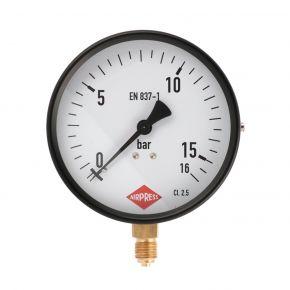 """Manomètre inférieure 1/4"""" 16 bar ext 100 mm"""