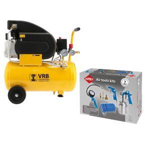 Compresseur LC24-1.5 VRB 8 bar 1.5 cv/1.1 kW 125 l/min 24 l Plug & Play Pack
