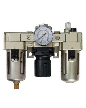 """Filtre, régulateur et lubrificateur 3 blocs avec manomètre et fixation 1/4"""" 10 bar 25 micron"""